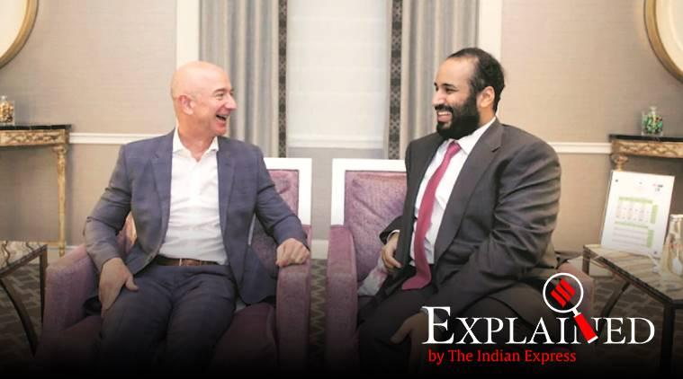 Jeff Bezos phone hacked, Jeff Bezos iPhone hacked, Saudi hacked Jeff Bezos phone, Saudi Arabia, Jeff Bezos, Amazon, Pegasus, Whatsapp, Saudi Arabia, Pegasus spyware, spying, whatsapp hacking, Indian Express