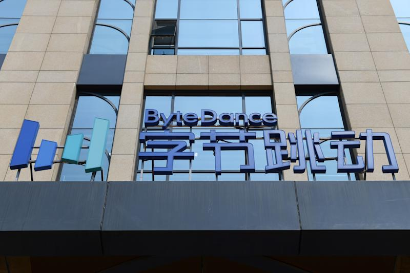 The ByteDance logo is seen on a building in Beijing on July 8, 2020. - Video sharing app TikTok, which is owned by Chinese company ByteDance, announced on July 6 it was pulling out of Hong Kong, less than a week after a new national security law went into effect. (Photo by GREG BAKER / AFP) (Photo by GREG BAKER/AFP via Getty Images)