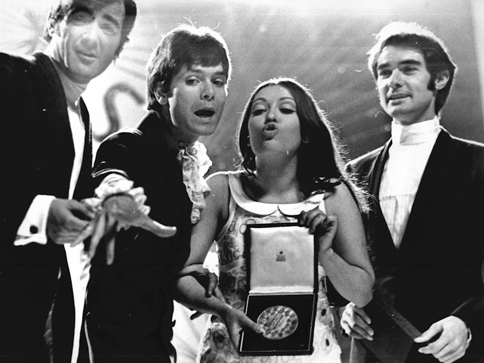 Cliff Richard with the winner of the 1968 Eurovision Song Contest, Spain's Massiel, with her song's composers Manuel De La Calva and Ramon Arcusa (Roger Bamber/ANL/Rex)
