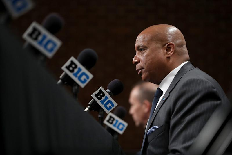 Big Ten commissioner Kevin Warren speaks about the cancellation of the men's basketball tournament on March 12, 2020. (Chris Sweda/Chicago Tribune/Tribune News Service via Getty Images)