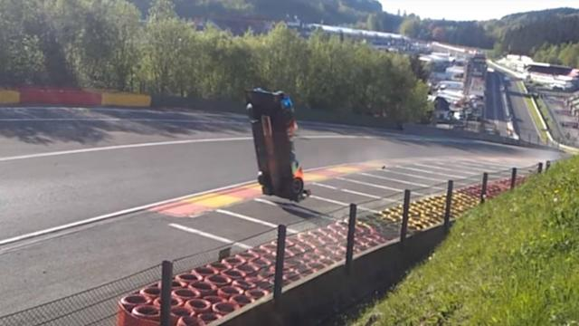 Matevos Isaakyan's car flipped over as he came up through the formidable Eau Rouge corner.