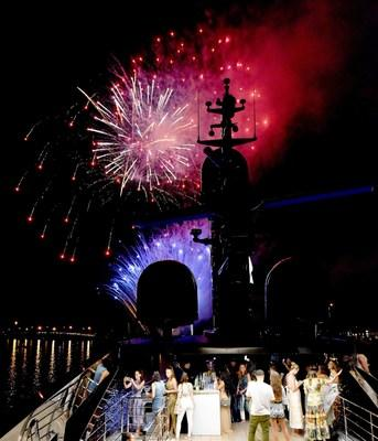 The dazzling fireworks display on Biscayne Bay as seen aboard Utopia IV at the Lumiere de Vie Resort event in Miami Beach