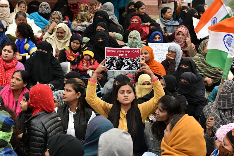 People seen during a demonstration against CAA, near clock tower, at Old City, on January 18, 2020 in Lucknow, India. (Photo: Hindustan Times via Getty Images)