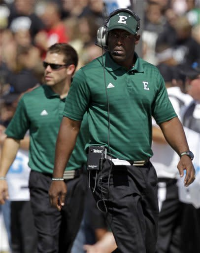 Eastern Michigan head coach Ron English paces the sideline during the first half of an NCAA college football game against Purdue in West Lafayette, Ind., Saturday, Sept. 15, 2012. (AP Photo/Michael Conroy)