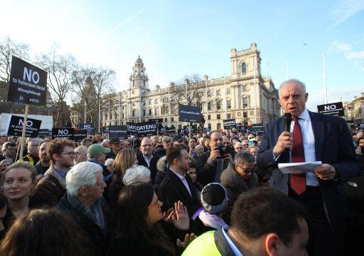 <p>Jonathan Arkush, the then president of the Board of Deputies of British Jews, speaks during a 2018 protest against antisemitism in the Labour Party in Parliament Square, London</p> (PA)