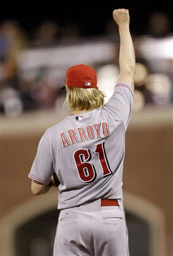 Cincinnati Reds starting pitcher Bronson Arroyo celebrates after the last out of the game during a baseball game against the San Francisco Giants on Monday, July 22, 2013, in San Francisco. Arroyo threw a complete game shutout in an 11-0 win over San Francisco. (AP Photo/Marcio Jose Sanchez)