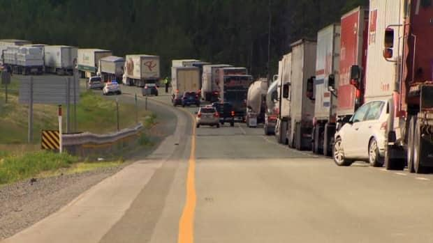 The protest at Highway 104 has shut down traffic in both directions. (Pat Callaghan/CBC - image credit)