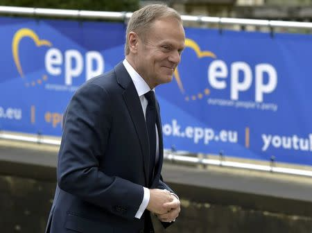 European Council President Donald Tusk arrives at a European People's Party (EPP) meeting ahead of a EU summit in Brussels, Belgium, March 9, 2017. REUTERS/Eric Vidal