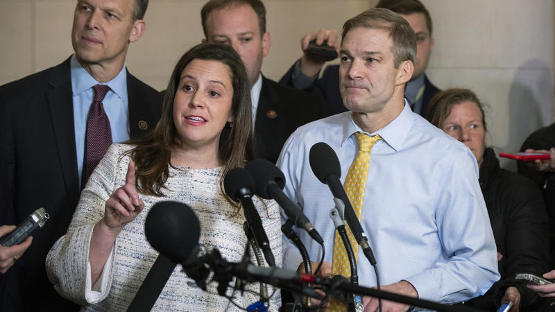 Rep. Elise Stefanik, R-N.Y., front left, Rep. Jim Jordan, R-Ohio, right, and other Republican members of the House Intelligence Committee, speak to members of the media as they conclude the testimony of U.S. Ambassador to the European Union Gordon Sondland, during a public impeachment hearing of President Donald Trump's efforts to tie U.S. aid for Ukraine to investigations of his political opponents on Capitol Hill in Washington, Wednesday, Nov. 20, 2019. (Photo: Manuel Balce Ceneta/AP)