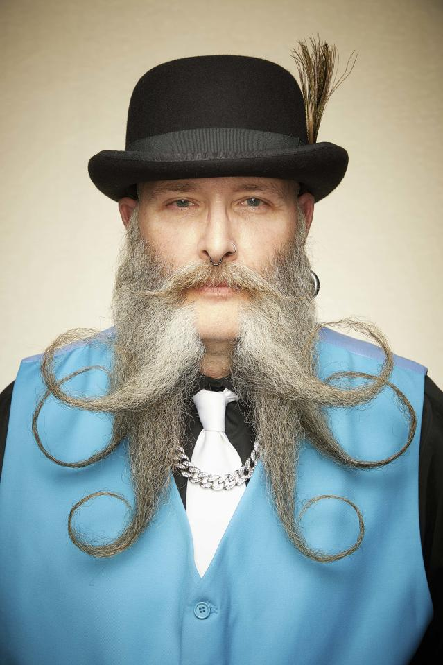 Against the gentleman's blue waistcoat, this facial hair resembles a squid. [Photo: Caters]