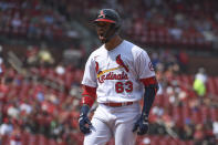 St. Louis Cardinals' Edmundo Sosa reacts after hitting an RBI-single during the sixth inning of a baseball game against the Minnesota Twins on Sunday, Aug. 1, 2021, in St. Louis. (AP Photo/Joe Puetz)