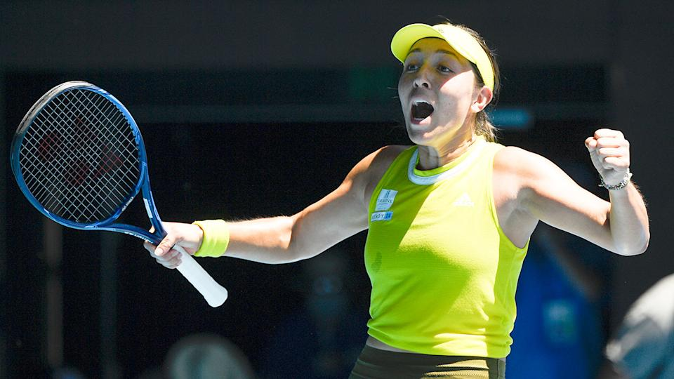 Pictured here, Jessica Pegula celebrates after her fourth round win at the Australian Open.