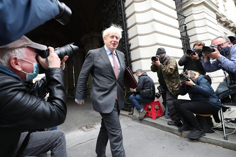 Prime Minister Boris Johnson in Downing Street, London, after leaving a Cabinet meeting at the Foreign and Commonwealth Office.