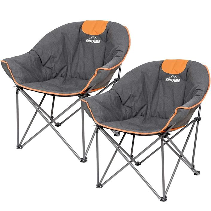 """<h2>Suntime Sofa Chair</h2><br>Bring your couch to the great outdoors with these padded camping chairs from Suntime. For $130 you get two ergonomic, breathable, and extra-comfy portable seats that should last you for years to come. <br><br><em>Shop</em> <strong><em><a href=""""https://amzn.to/3jWcBES"""" rel=""""nofollow noopener"""" target=""""_blank"""" data-ylk=""""slk:Suntime"""" class=""""link rapid-noclick-resp"""">Suntime</a></em></strong><br><br><br><br><strong>OUTDOOR LIVING SUNTIME</strong> Sofa Chair (2 Pack), $, available at <a href=""""https://amzn.to/3yrFSvb"""" rel=""""nofollow noopener"""" target=""""_blank"""" data-ylk=""""slk:Amazon"""" class=""""link rapid-noclick-resp"""">Amazon</a>"""