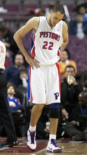 Detroit Pistons' Tayshaun Prince (22) walks away after getting fouled on a shot in the first half of an NBA basketball game Friday, Jan. 20, 2012, in Auburn Hills, Mich. The Grizzlies won the game 98-81, to hand the Pistons their 10th loss in 11 games. (AP Photo/Duane Burleson)