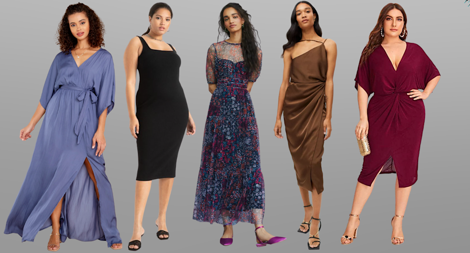 five models posing wearing fall wedding guest dresses in blue, black, blue floral, brown, and burgundy