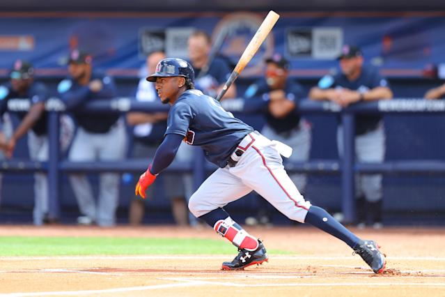 <p>Atlanta Braves Ozzie Albies (1) bats in the first inning of a baseball game against the New York Mets at First Data Field in Port St. Lucie, Fla., Feb. 23, 2018. (Photo: Gordon Donovan/Yahoo News) </p>