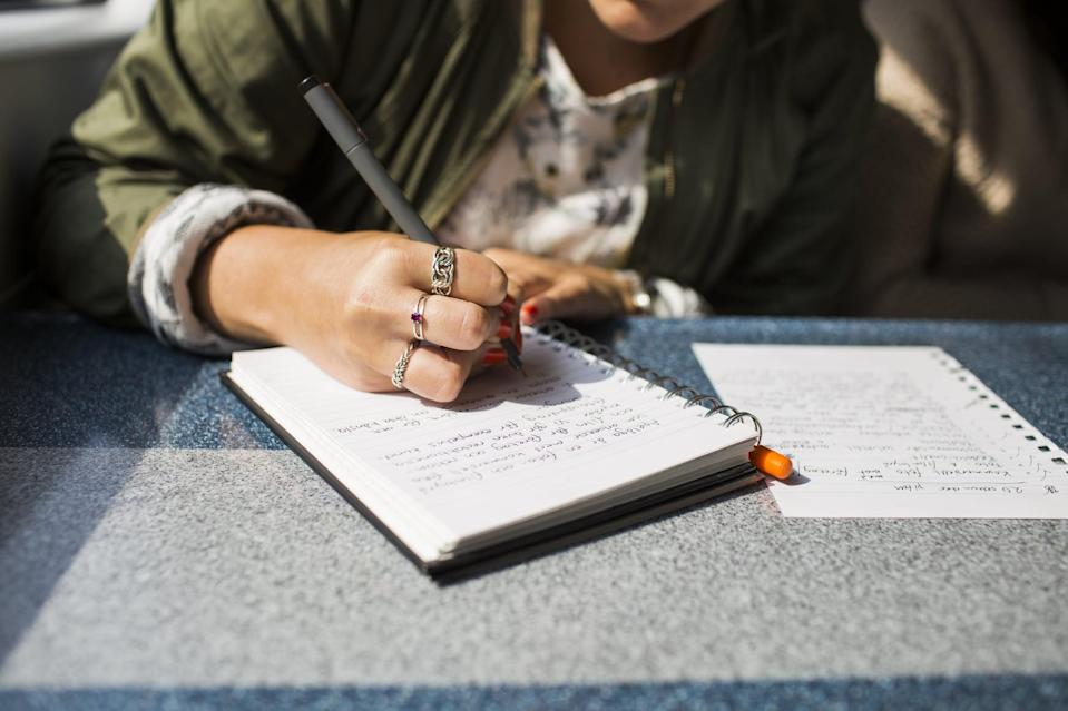 """<p>Sometimes you just need a place to vent, and your journal is a great place for it. For this, you can follow a structured prompt or simply free write, said licensed mental health clinician <a href=""""https://www.bermanpsychotherapy.com/about"""" class=""""link rapid-noclick-resp"""" rel=""""nofollow noopener"""" target=""""_blank"""" data-ylk=""""slk:Kylie O'Driscoll"""">Kylie O'Driscoll</a>, LAMFT, of Berman Psychotherapy. She sets a timer for 10 minutes and doesn't stop writing until it goes off. """"This is a great practice to release all the thoughts, emotions, and fleeting ideas that pop into our heads and have the space where we can process later if we chose to do so,"""" O'Driscoll told POPSUGAR.</p> <p>You can also try a more specific prompt, like the first one listed below, suggested by licensed professional counselor Natolie Grey Warren of <a href=""""http://inpower1.com/"""" class=""""link rapid-noclick-resp"""" rel=""""nofollow noopener"""" target=""""_blank"""" data-ylk=""""slk:InPowerment Counseling &amp; Consulting Services"""">InPowerment Counseling &amp; Consulting Services</a>. This prompt, focused on forgiveness, can help you unearth something you might be holding against yourself. """"Self-forgiveness releases these thoughts and feelings and ultimately frees up mental and emotional baggage.""""</p> <p>Try these prompts:</p> <ul> <li>I forgive myself for believing... I forgive myself for feeling...</li> <li>10-minute free write about your emotions.</li> </ul>"""