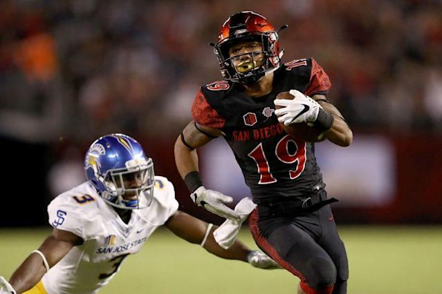 SDSU's Donnel Pumphrey is chasing history in the Las Vegas bowl. (Getty)