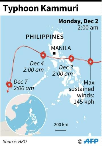 Map showing the path of Typhoon Kammuri