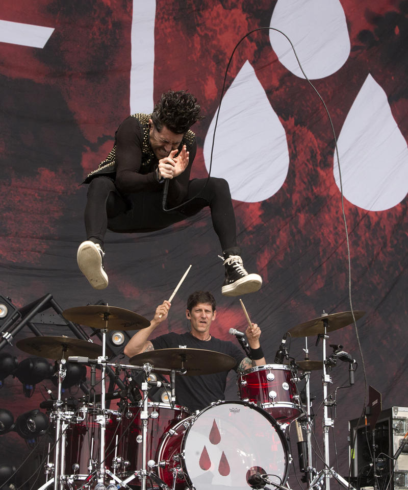 <p>Davey Havok of the band AFI performs on Day 2 of the 2017 Firefly Music Festival at The Woodlands on Friday, June 16, 2017, in Dover, Del. (Photo by Owen Sweeney/Invision/AP) </p>