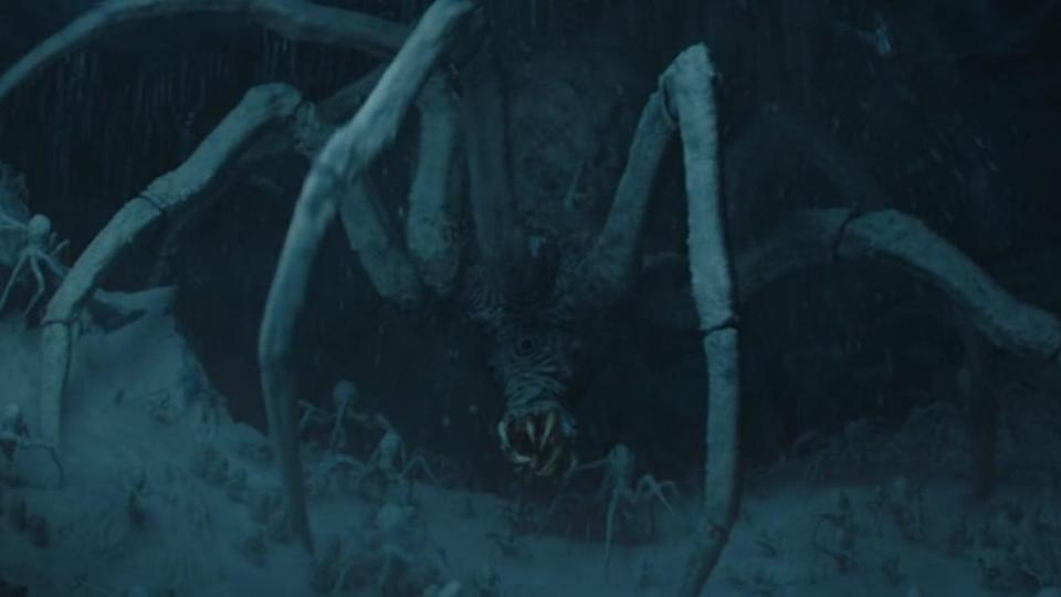 <p> <strong>Episode 2</strong> </p> <p> Arachnophobics, beware. Chapter 9 is filled to the brim with not only Easter eggs, but spider eggs too. The Child, unfortunately, decides to munch on the arachnid spawn, waking up most of the brood. </p> <p> The spiders are a deep Star Wars cut too. Their origins date back to an unused piece of concept art for a knobby white spider in The Empire Strikes Back. Part of their design was used in Star Wars: Rebels for the creatures known as krykna, but this seems to like a return to Episode 5's plans. </p>