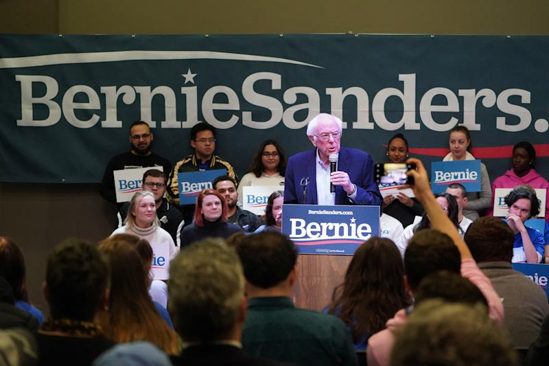 Sen. Bernie Sanders speaks during a rally