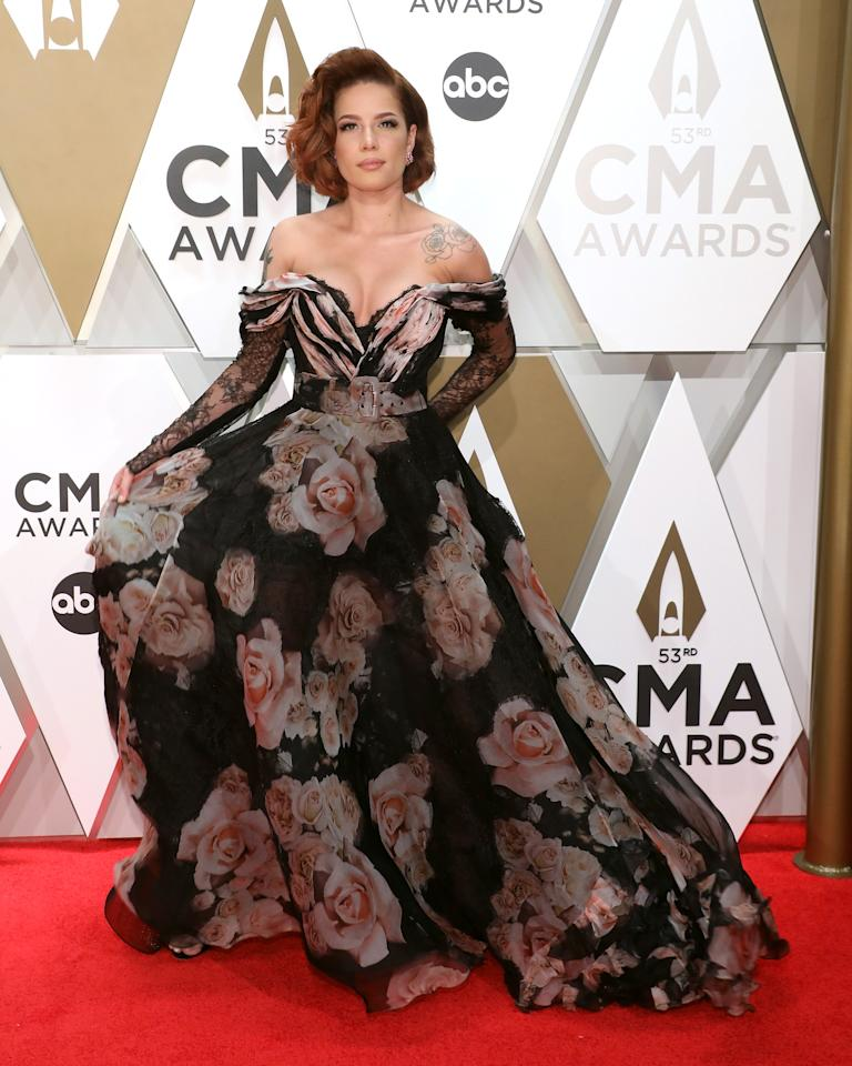 Halsey ruled the red carpet with this dress of mixed patterns.