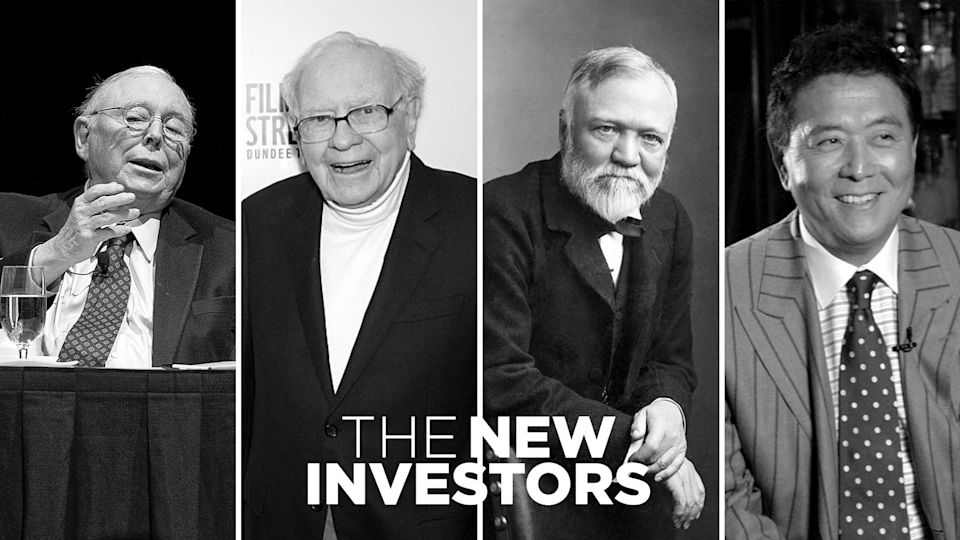(Left to right) Charlie Munger, Warren Buffett, Andrew Carnegie, and Robert Kiyosaki. <em>Photos: Getty</em>