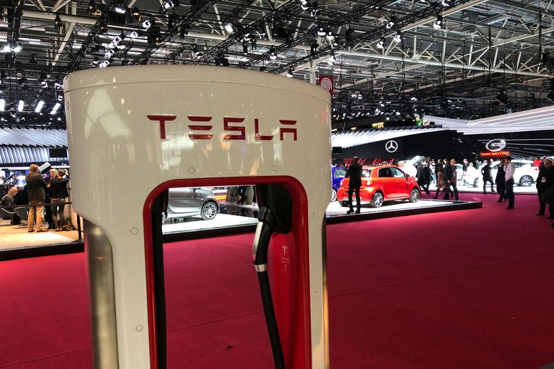 A Tesla supercharger sits on display at the Paris auto show in Paris