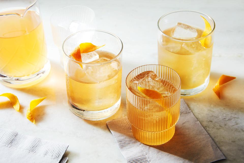 """This make-ahead cocktail is designed to be paired with your favorite <a href=""""https://www.epicurious.com/recipes-menus/best-thanksgiving-pies-desserts-gallery?mbid=synd_yahoo_rss"""" rel=""""nofollow noopener"""" target=""""_blank"""" data-ylk=""""slk:Thanksgiving pie recipes"""" class=""""link rapid-noclick-resp"""">Thanksgiving pie recipes</a>. Adding measured water along with the ingredients, then chilling the batched drink means you won't need to shake it over ice at the last minute. <a href=""""https://www.epicurious.com/recipes/food/views/everything-good-cocktail?mbid=synd_yahoo_rss"""" rel=""""nofollow noopener"""" target=""""_blank"""" data-ylk=""""slk:See recipe."""" class=""""link rapid-noclick-resp"""">See recipe.</a>"""