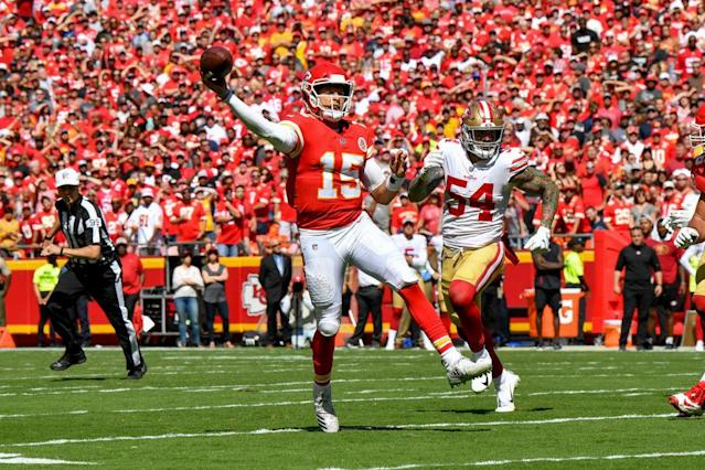 You'll be throwing fantasy touchdowns just like Pat Mahomes with our Week 4 Hub. (Photo by Peter Aiken/Getty Images)