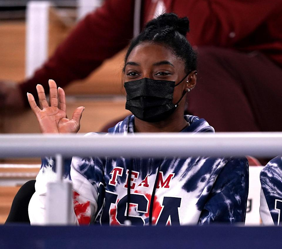 Simone Biles watched the men's all-around final on Thursday (Mike Egerton/PA) (PA Wire)