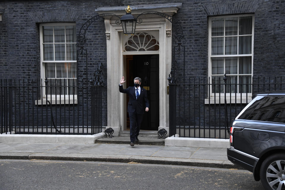 US Secretary of State Antony Blinken leaves after a meeting with Britain's Prime Minister Boris Johnson at 10 Downing Street in London, Tuesday, May 4, 2021. Foreign ministers from the Group of Seven wealthy industrialized nations gathered in London to grapple with threats to health, prosperity and democracy. It is their first face-to-face meeting in more than two years. (AP Photo/Alberto Pezzali)