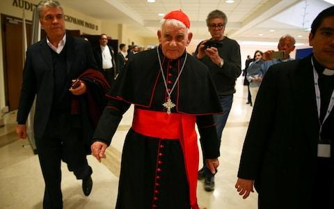 <span>Cardinal Ernest Simoni at a course for aspiring exorcists in Rome in April 2018</span> <span>Credit: Reuters </span>