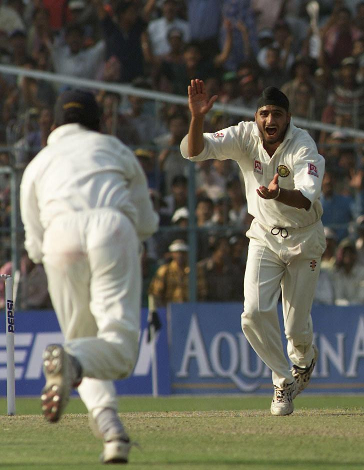 11 Mar 2001:  Harbhajan Singh of India claims the wicket of Shane Warne of Australia, to complete a hat trick, during day one of the 2nd Test between India and Australia played at Eden Gardens, Calcutta, India. X DIGITAL IMAGE  Mandatory Credit: Hamish Blair/ALLSPORT