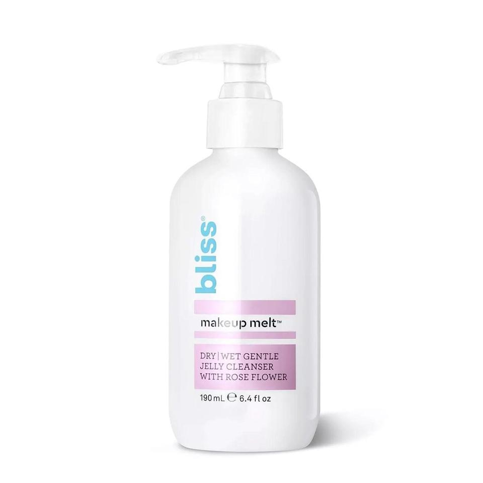 <p>Double cleanse the day off with this <span>Bliss Makeup Melt Dry/Wet Gentle Jelly Cleanser</span> ($14).</p>