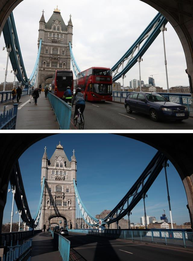 Composite of photos of Tower Bridge in London taken today (top) and the same view on 24/03/20 (bottom), the day after Prime Minister Boris Johnson put the UK in lockdown