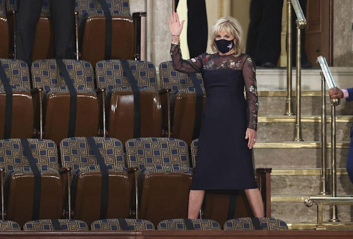 <p>Dr. Biden chose a Gabriela Hearst dress for a joint session of Congress. According to the designer's Instagram post, the silk wool dress and mask were made entirely of existing fabrics, and crafted and embroidered in New York.</p>