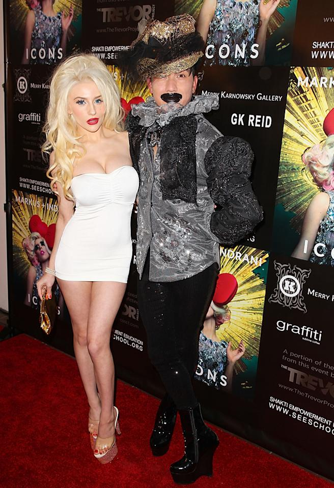 LOS ANGELES, CA - JANUARY 10:  Courtney Stodden and Bobby Trendy arrives at Markus   Indrani Icons book launch party hosted by Carmen Electra benefiting The Trevor Project at Merry Karnowsky Gallery & Graffiti on January 10, 2013 in Los Angeles, California.  (Photo by Joe Scarnici/WireImage)