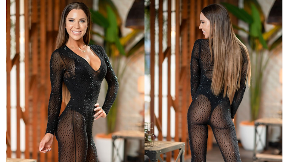 MAFS star Coco in sheer black bodystocking for dinner party