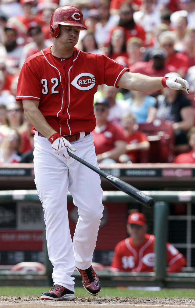 Cincinnati Reds' Jay Bruce strikes out against Tampa Bay Rays starting pitcher Alex Cobb to end the fourth inning of a baseball game, Saturday, April 12, 2014, in Cincinnati. (AP Photo/Al Behrman)