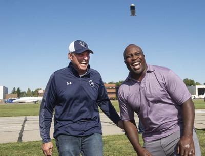 Goodyear surprised College Football Hall of Fame inductee London Fletcher with a reunion with his high school and college coach Mike Moran and a ride on the blimp, Friday Sept. 27, 2019 in Cleveland (Phil Long/AP Images for Goodyear)