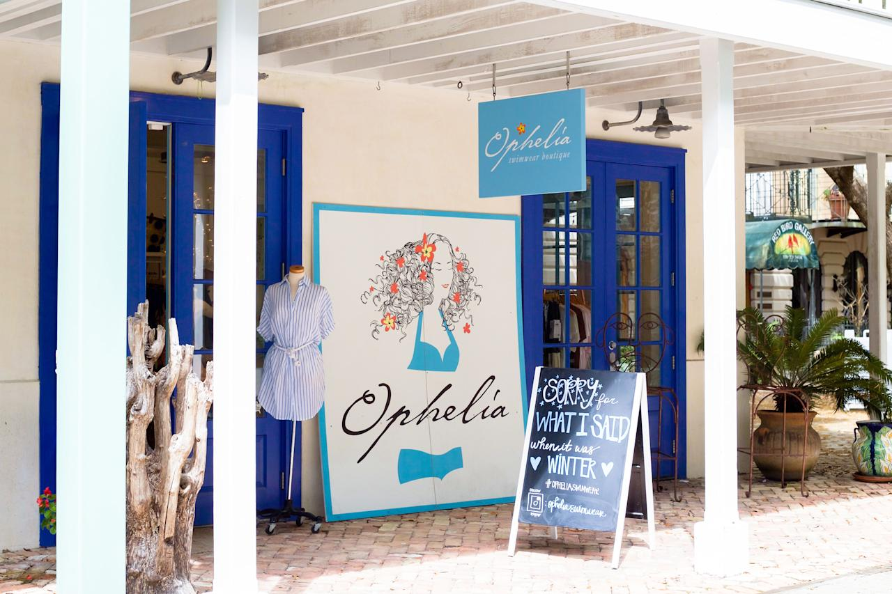 """<p>First things first: swimwear! If you are looking for the trendiest and coolest swimwear in town, <a rel=""""nofollow"""" href=""""https://www.opheliaswimwear.com/"""">Ophelia</a> is the place to go. With two locations in Seaside and Seacrest (and a third location opening soon), Ophelia keeps 30A well dressed in the most stylish beachwear. They carry some of my favorite brands, like Mikoh, Mara Hoffman, and Poupette St. Barth. Ophelia is always one of my favorite places to stop in whenever I'm at the beach, because I love getting lost in the beautiful prints and patterns of all their designer swimwear. </p> <p><strong>Best items to shop for at Ophelia: </strong>swimwear, hats, beach totes, and accessories.</p>"""