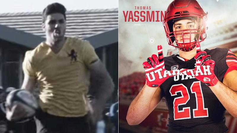 Yassmin while a star at Scots College (left) and now with Utah. Pic: Youtube/Twitter