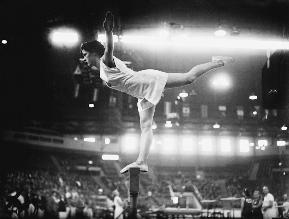 <p>British gymnast Cissie Davies competed in the London games...in a skirt! Can you imagine navigating the already challenging balance beam while wearing a skirt? </p>