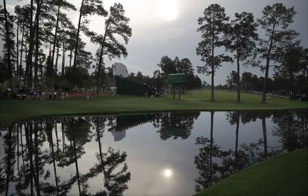The 16th hole is pictured during practice rounds for the 2017 Masters at Augusta National Golf Club in Augusta