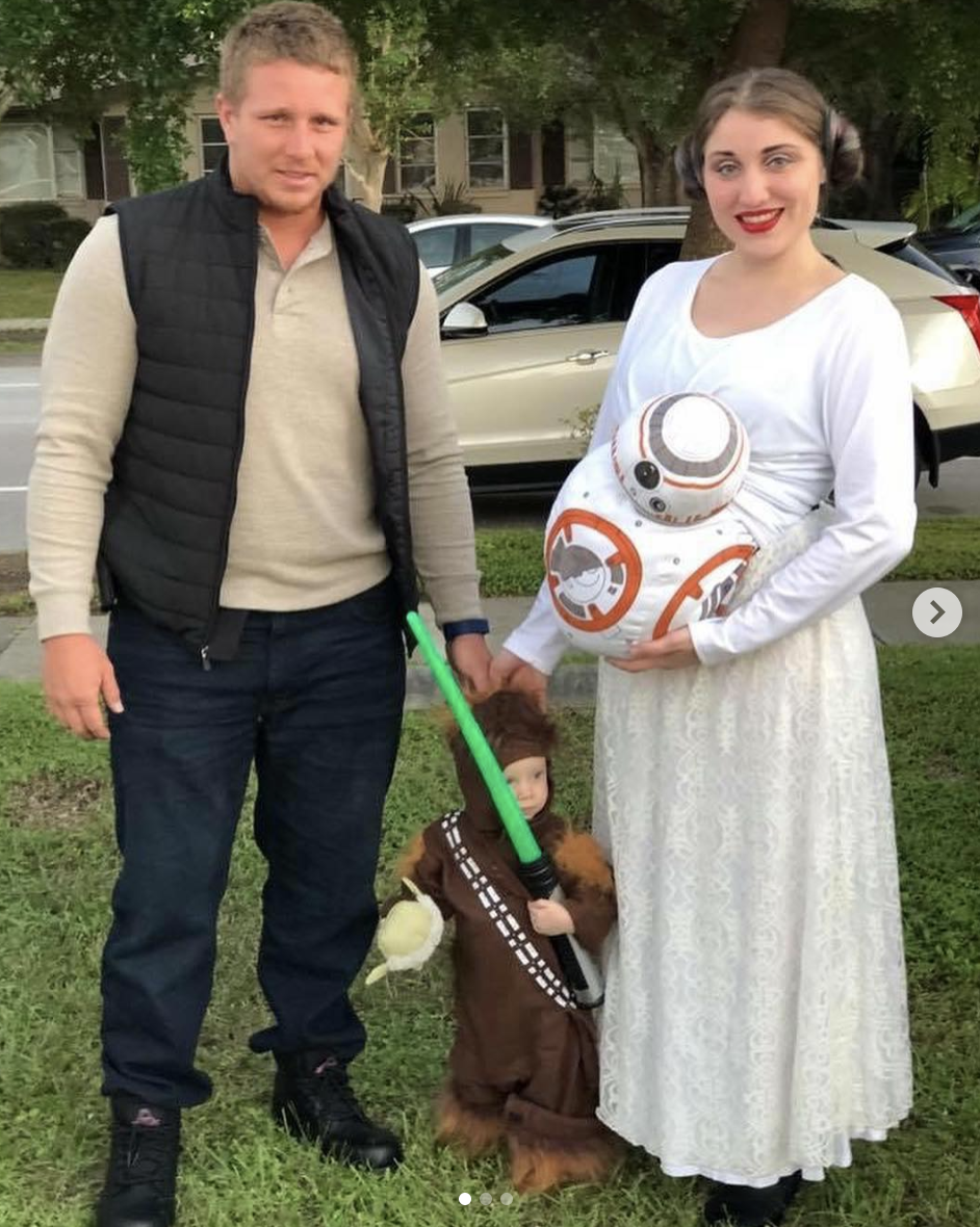 """<p>Before you jet off to a galaxy far, far away, coordinate with the whole crew as Princess Leia with a BB8 bump, Han Solo, and Chewbacca—and may the force be with you. </p><p><a class=""""link rapid-noclick-resp"""" href=""""https://www.amazon.com/Star-Wars-Princess-Leia-Brown/dp/B000VLQBTM/?tag=syn-yahoo-20&ascsubtag=%5Bartid%7C10050.g.4972%5Bsrc%7Cyahoo-us"""" rel=""""nofollow noopener"""" target=""""_blank"""" data-ylk=""""slk:SHOP PRINCESS LEIA WIG"""">SHOP PRINCESS LEIA WIG</a></p>"""