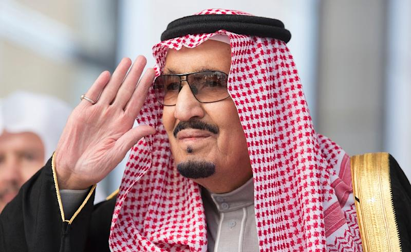 Saudi King Salman, pictured in 2017, is putting his support behind the anti-graft purge of the kingdom's elite
