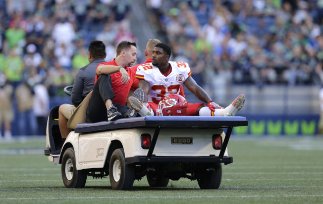 Chiefs RB Spencer Ware will miss the season after suffering a serious knee injury against the Seahawks last month. (AP)